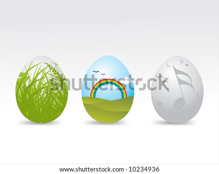 Easter eggs with different patterns vector illustration - stock vector