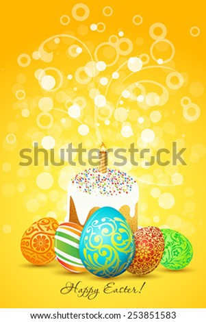 Easter Eggs with ornament decoration and sparkles on orange background - stock vector