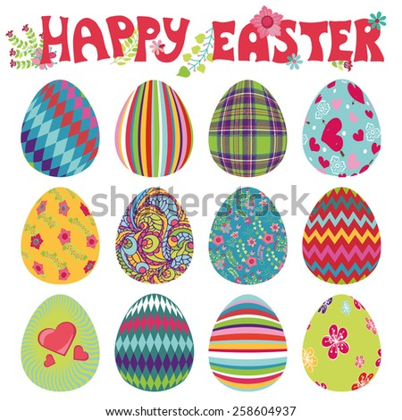 Easter eggs with ornaments.Bright cute cartoon set.Vector isolate on white background. Hand drawing text - stock vector