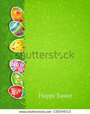 Easter festive background and egg in grass - stock vector