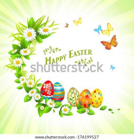 Easter festive background with flowers and eggs. Vector illustration with place for text - stock vector