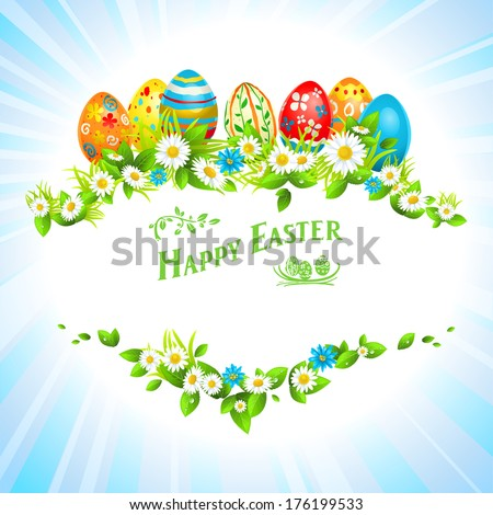 Easter festive card with eggs and flowers. Place for text. - stock vector