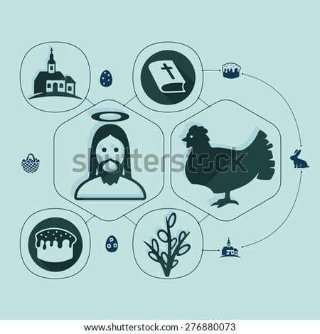 easter flat infographic - stock vector