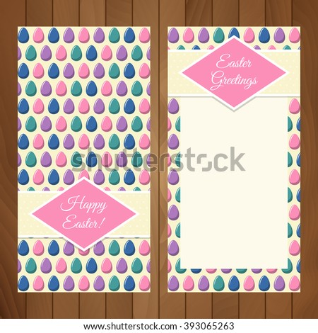 "Easter flyer design template over wooden background. ""Happy Easter!"" greeting over a seamless pattern with multicoloured eggs, eps10. Pattern already in swatches. - stock vector"