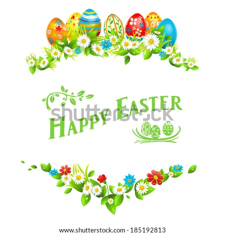 Easter frame. Holiday floral decorations with color eggs - stock vector