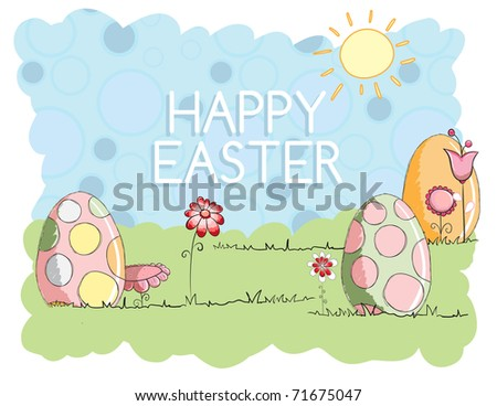 Easter greeting card - Big eggs - stock vector