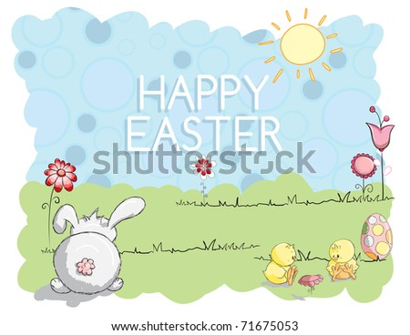 Easter greeting card - Bunny and little chicks - stock vector
