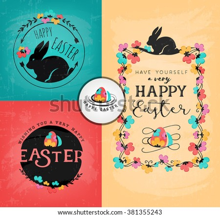 Easter Greeting Card Design Elements in Vintage Style. Vector Illustrations - stock vector