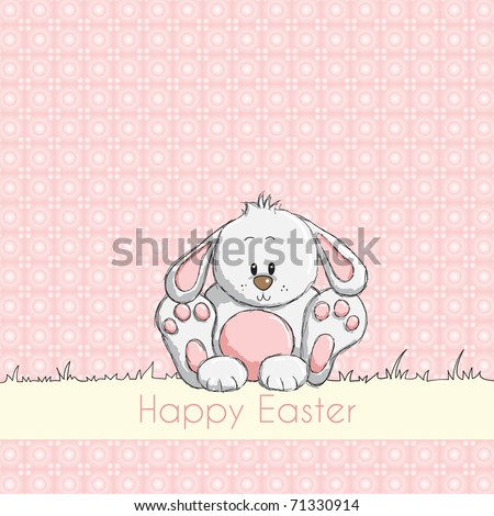 Easter greeting card - Pink cute bunny - stock vector