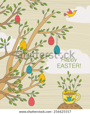 Easter Greeting Card With Colorful Eggs On Branches - stock vector