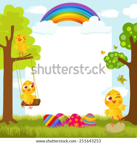 Easter greeting card with cute chicks on spring background happily playing - stock vector