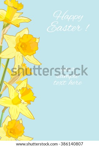 Easter Greeting Card with Daffodils on Blue Background - stock vector