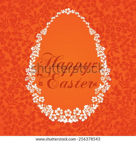 Easter Greeting Card with egg in flowers . Vector illustration for your spring happy holiday design.  - stock vector