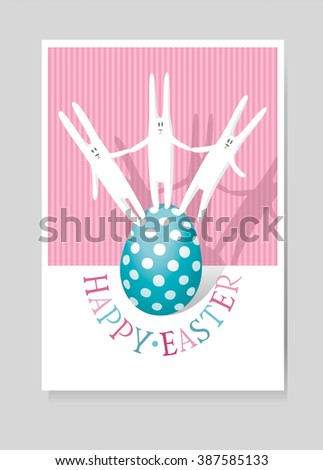 Easter greeting card with three white hares and Easter egg - stock vector