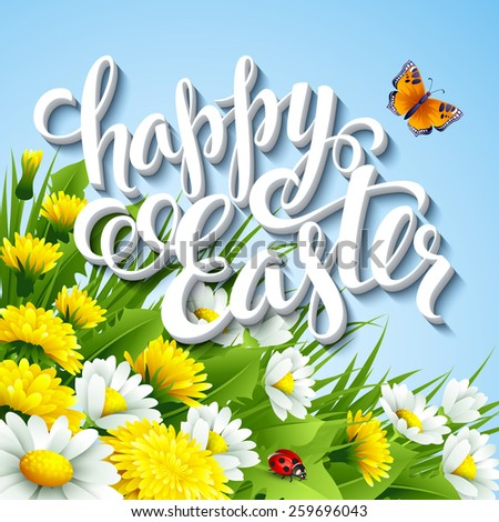 Easter greeting with eggs and flowers. Vector illustration - stock vector