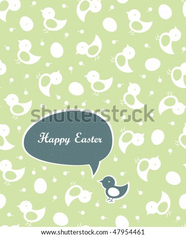 Easter greetings (green colors, spring gamma). Seamless chicks and eggs background. - stock vector