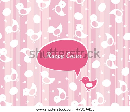 Easter greetings in pink color. Seamless chicks and eggs background. - stock vector