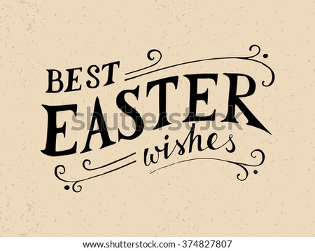 Easter hand drawn lettering in vintage style - stock vector