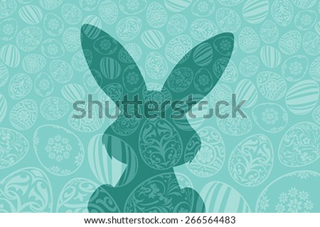 Easter Holiday Background with Eggs and Rabbit Shadow - stock vector