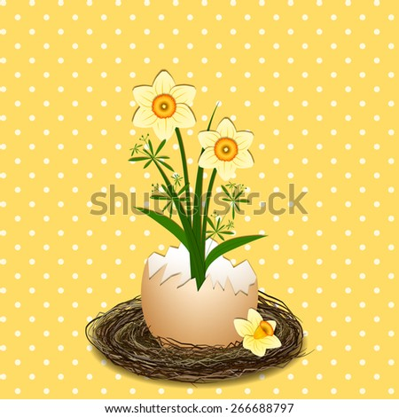 Easter Holiday Illustration Yellow Daffodil Flower on Polka Dot Background - stock vector
