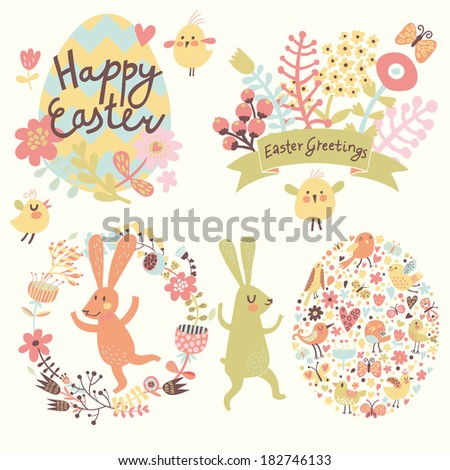 Easter holiday set in vector. Bright holiday elements and signs in cartoon style: egg made of hearts and flowers, rabbits, chicken, butterflies. Four cute concept cards - stock vector