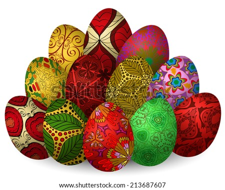 Easter illustration with a lot of egg with a pattern on a white background - stock vector