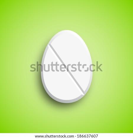 Easter medicine Pill in egg shape, vector illustration - stock vector