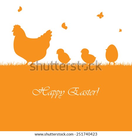 Easter orange background with hen and chickens, illustration. - stock vector