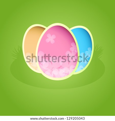 Easter paper card with color eggs. EPS10 vector. - stock vector