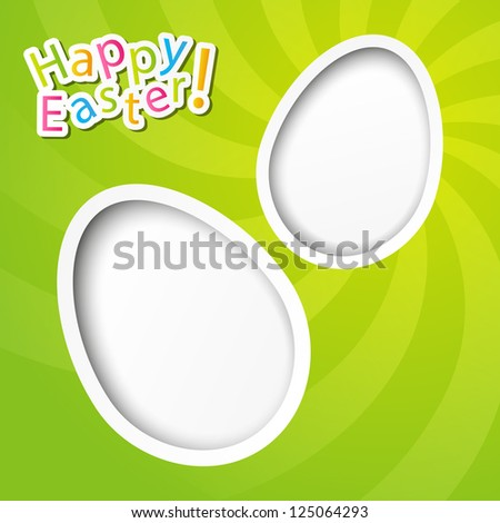 Easter paper card with egg silhouettes - stock vector