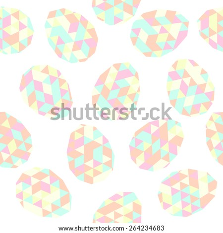 Easter pattern decoration. Easter eggs with low polygonal texture. Seamless vector. Stylized background with colorful eggs. Seamless holiday backdrop. Triangle texture. - stock vector