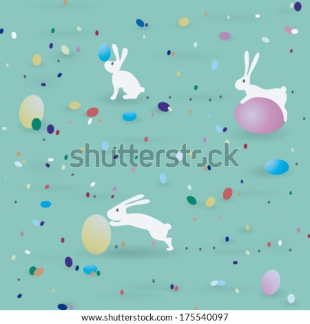 Easter pattern / Seamless print with bunnies end eggs    - stock vector