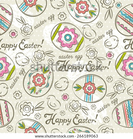 Easter Patterns and seamless background.Background with easter eggs, flowers and chicks.Ideal for printing onto fabric and paper or scrap booking. - stock vector