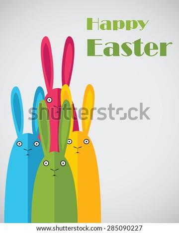 Easter postcard. Cute rabbits. - stock vector