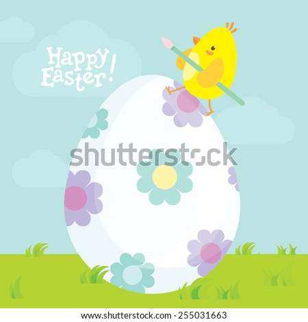 Easter postcard with cute little chick on the big decorated egg. Sky with clouds on the background and Happy Easter lettering. - stock vector