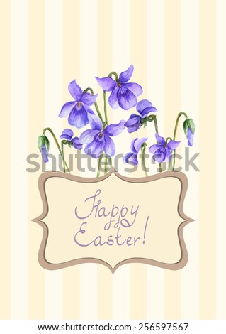 Easter postcard with floral elements - stock vector