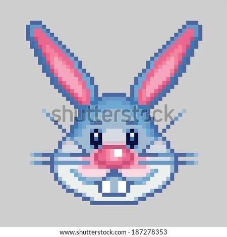 easter rabbit head pixel art style vector illustration - stock vector