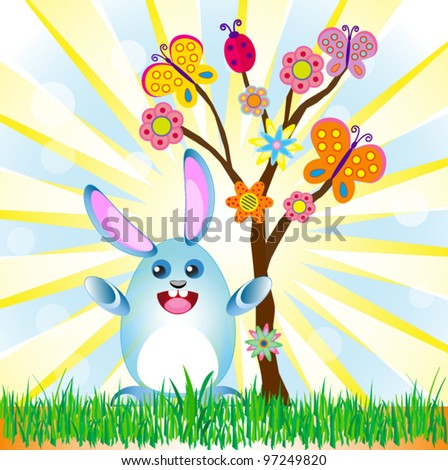 Easter rabbit with abstract summer tree background vector for different uses - stock vector