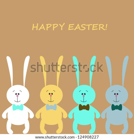 Easter rabbits, editable vector illustration - stock vector