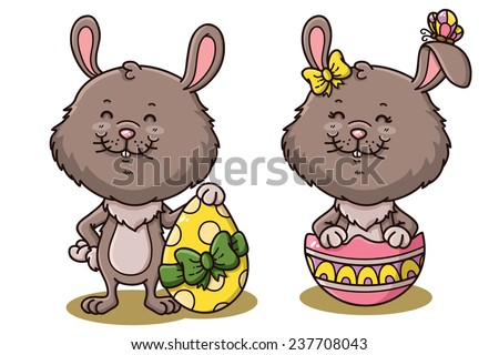 Easter rabbits. Vector illustration of happy cartoon Easter rabbits with Easter eggs - stock vector