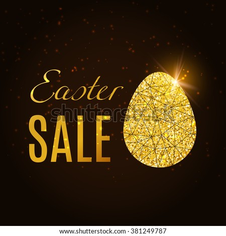 Easter SALE!  Glitter Egg banner. Happy Easter vector background. Egg sticker. Greeting card.  - stock vector