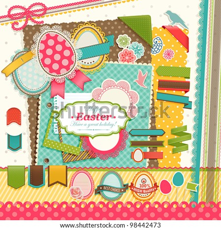 Easter scrapbook elements. Vector illustration. - stock vector