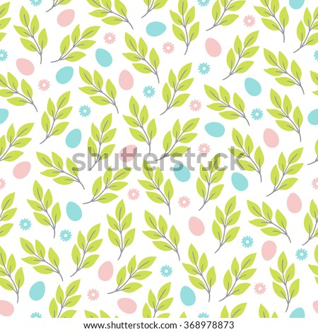Easter seamless pattern with flowers, branches and eggs. Perfect for wallpaper, gift paper, pattern fills, web page background, spring and Easter greeting cards - stock vector