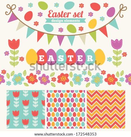 Easter set of design elements - patterns, label, border, garland - stock vector