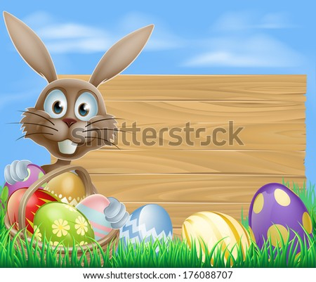 Easter sign with Easter bunny rabbit and Easter eggs - stock vector
