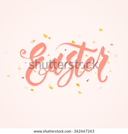 Easter. Single word writing with brush in modern naive  caligraphy style over pink background - stock vector
