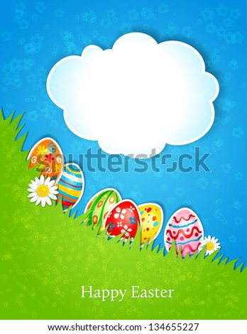 Easter spring background with  space for text - stock vector