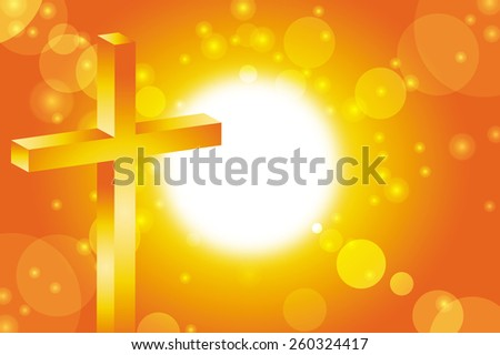 easter sunday background with jesus cross at sunset vector illustration - stock vector