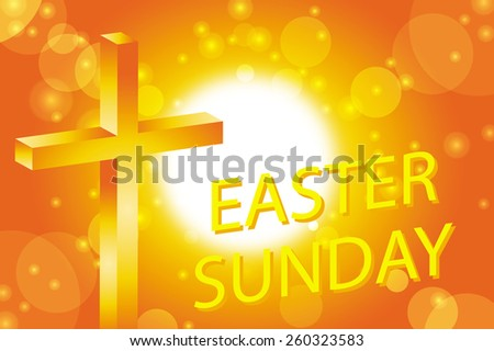 easter sunday greeting card jesus cross on abstract sun background vector illustration - stock vector