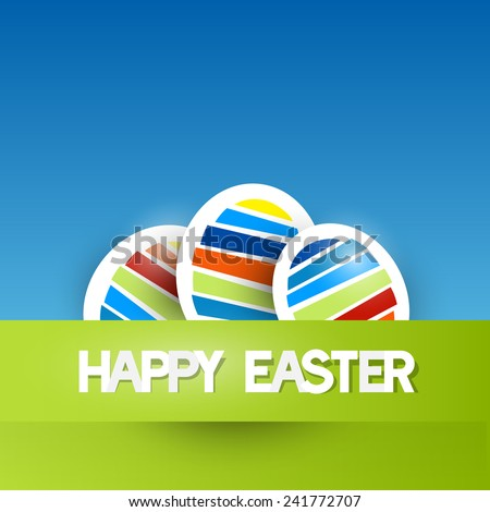 Easter Vector Background with Paper Eggs - stock vector